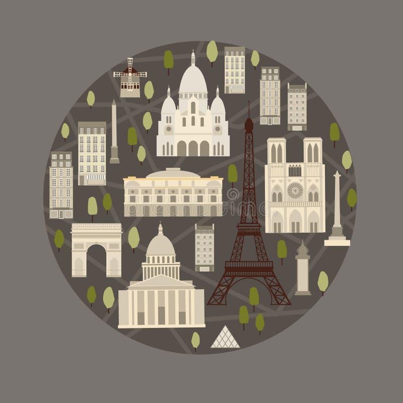 paris Sławni widoki Paryż również zwrócić corel ilustracji wektora ilustracja wektor