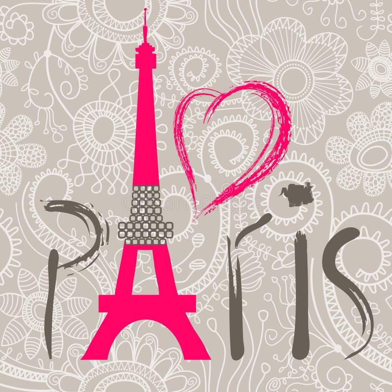 paris słowo royalty ilustracja