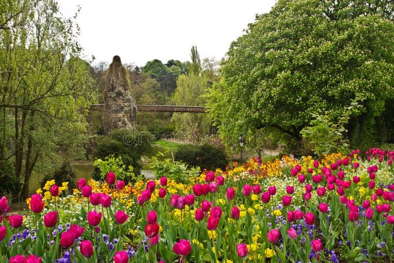 Paris's Parc de Buttes-Chaumont. Spring flowers in Paris's Parc de Buttes-Chaumont stock photo