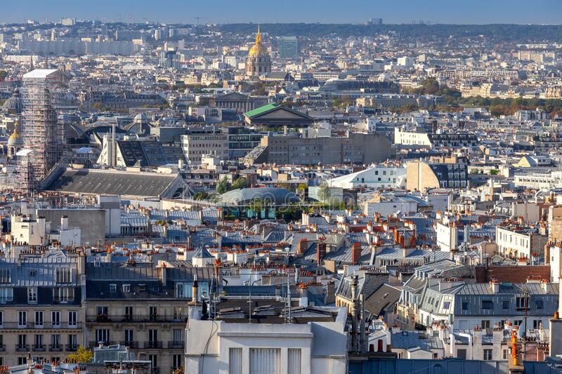 Paris. Scenic aerial view of the city in the early morning. stock image
