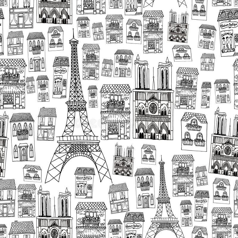 Paris seamless modell royaltyfri bild