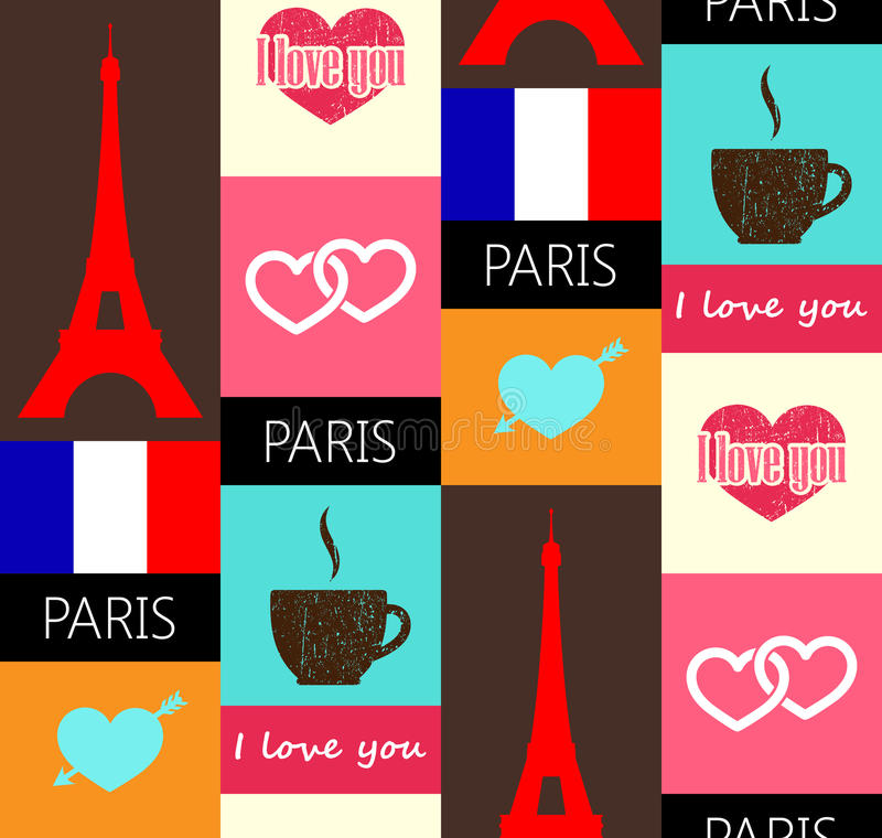 Paris seamless pattern stock illustration