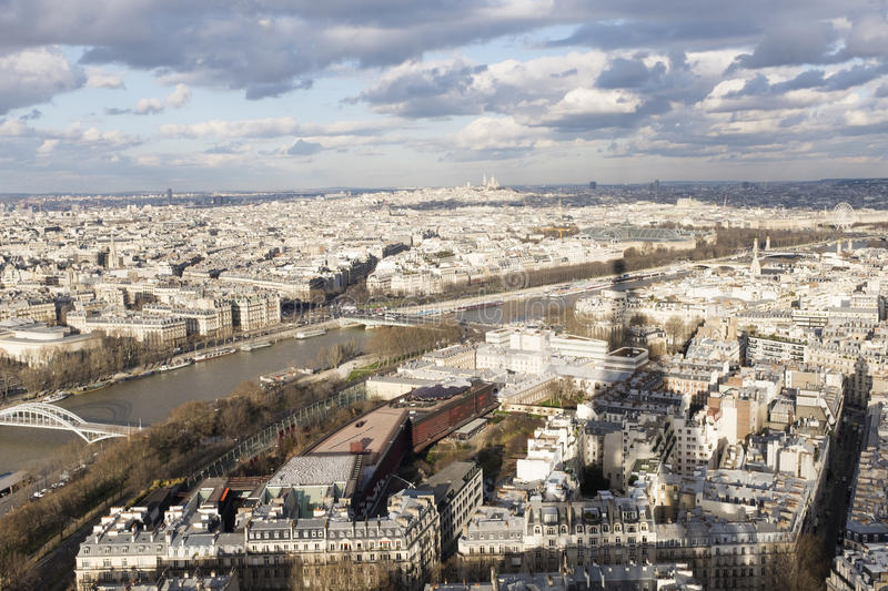 Paris and the Sein from the Tour Eiffel stock images