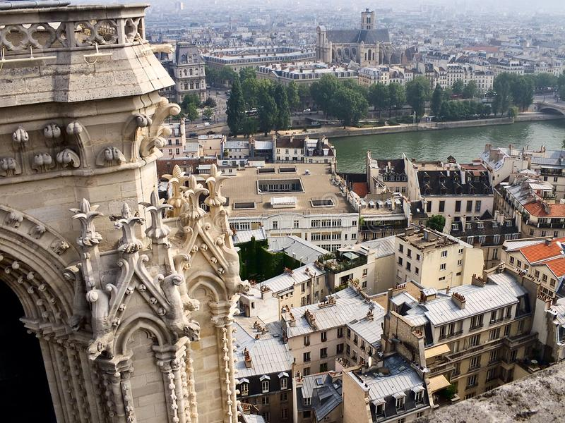 Paris, Seine, Cite Island. View from the top of Notre-Dame de Paris to the island of Cite and the right bank of the Seine stock photos