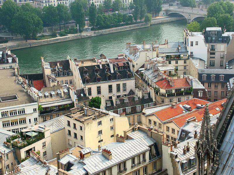 Paris, Seine, Cite Island. View from the top of Notre-Dame de Paris to the island of Cite and the right bank of the Seine royalty free stock images