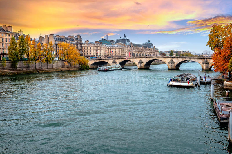 Paris, Seine River in Paris, France in autumn. stock image