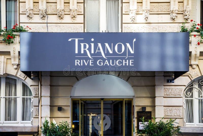 Paris - September 10, 2019 : The Trianon Rive Gauche hotel entrance in  Saint Germain des Pres. Paris/France - September 10, 2019 : The Trianon Rive Gauche hotel stock photos