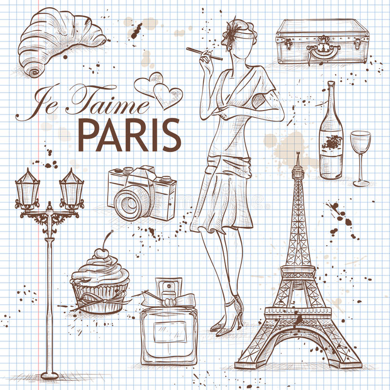 Paris set on note book page stock illustration