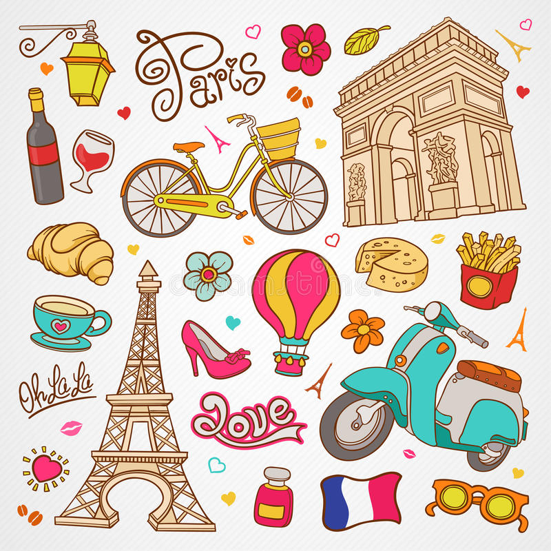 Paris sketch illustration, set of hand drawn Vector doodle French elements, Paris symbols collection. This image contains a lot of content for your design royalty free illustration