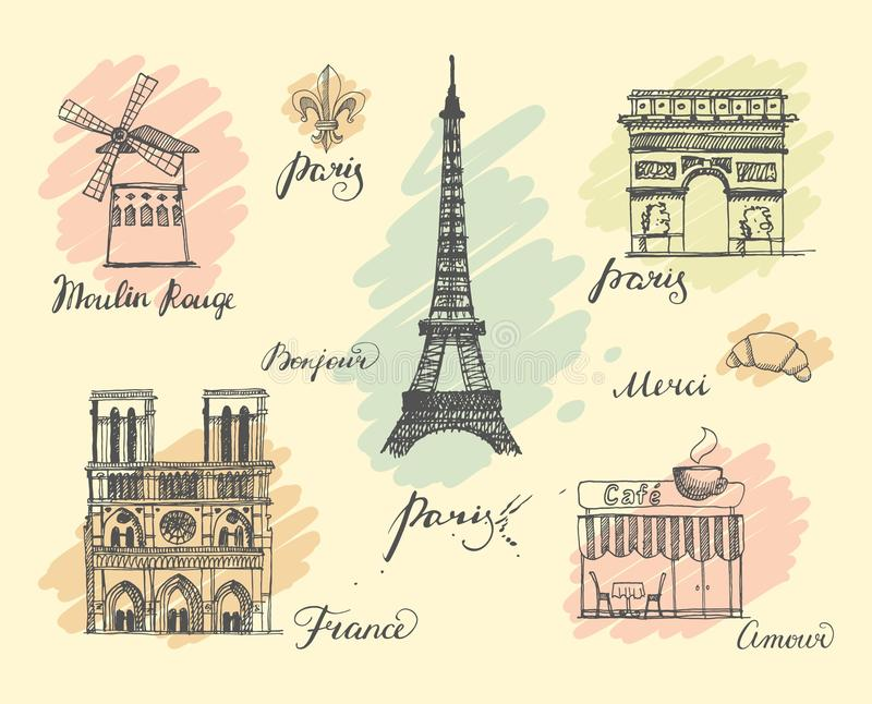 Paris sketches collection stock illustration