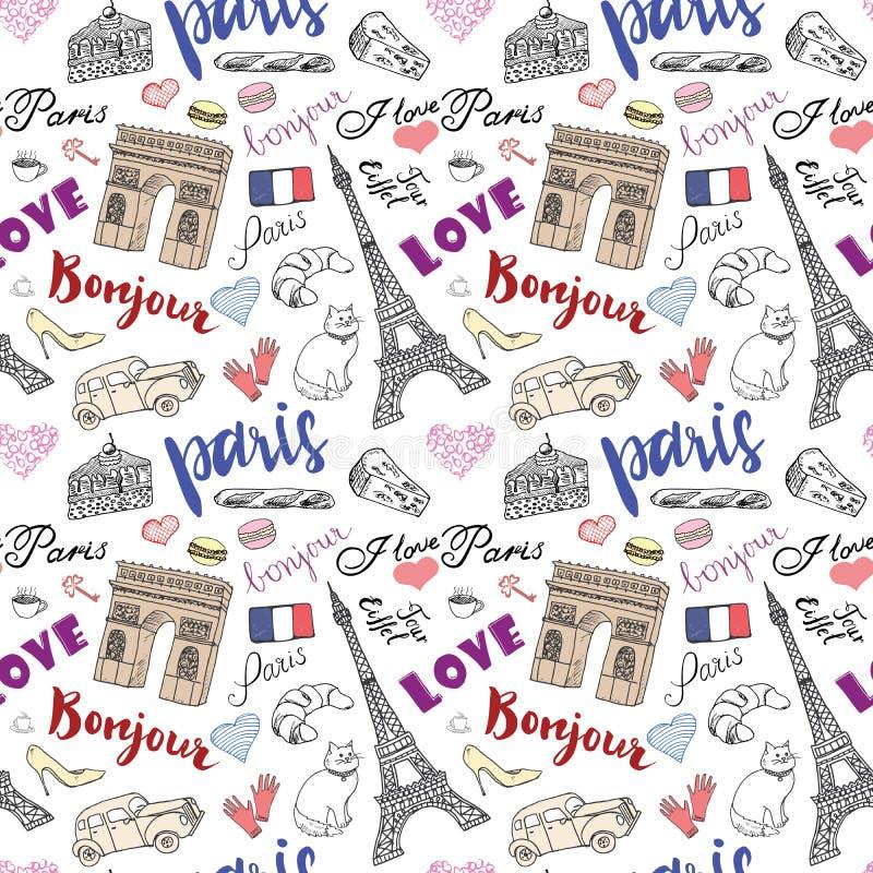 Paris skissar den sömlösa modellen med den drog handen beståndsdelar - Eiffeltorntriumfbågen, modeobjekt Dra klotter vektor illustrationer