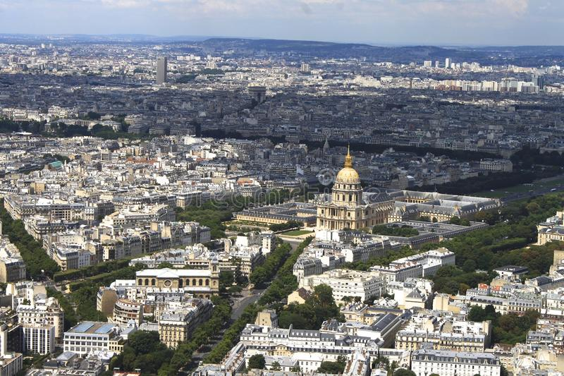 Paris from the sky stock image
