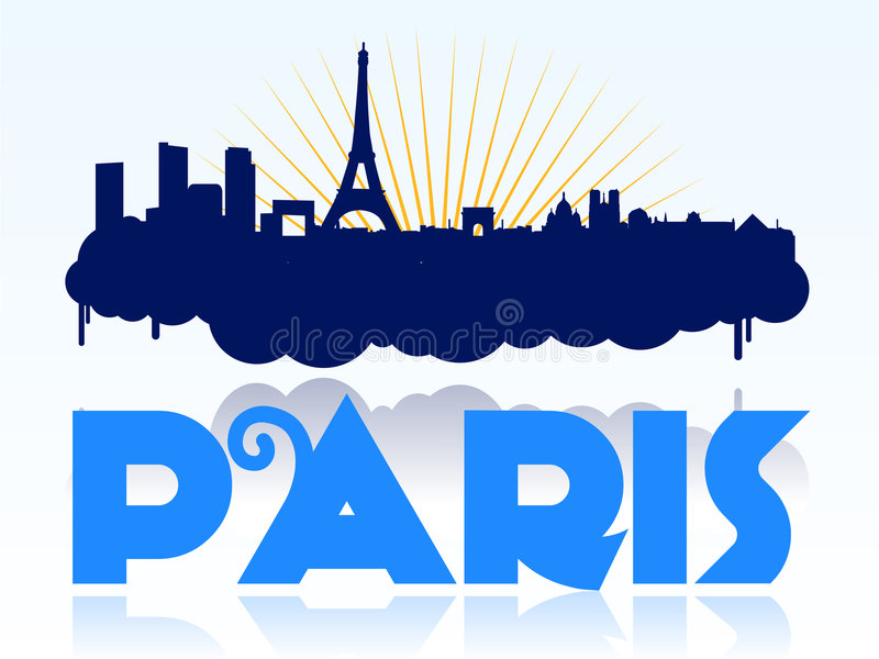 Paris skyline design logo vector illustration