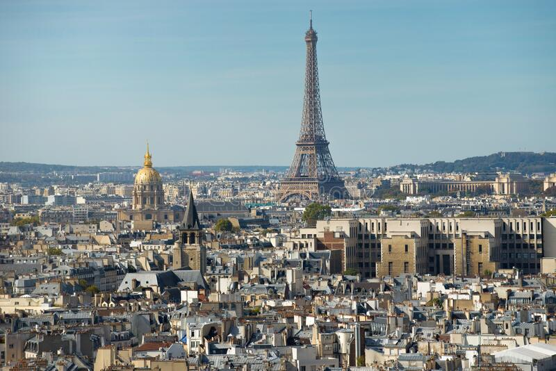 Paris skyline with the Eiffel tower on a sunny day stock image