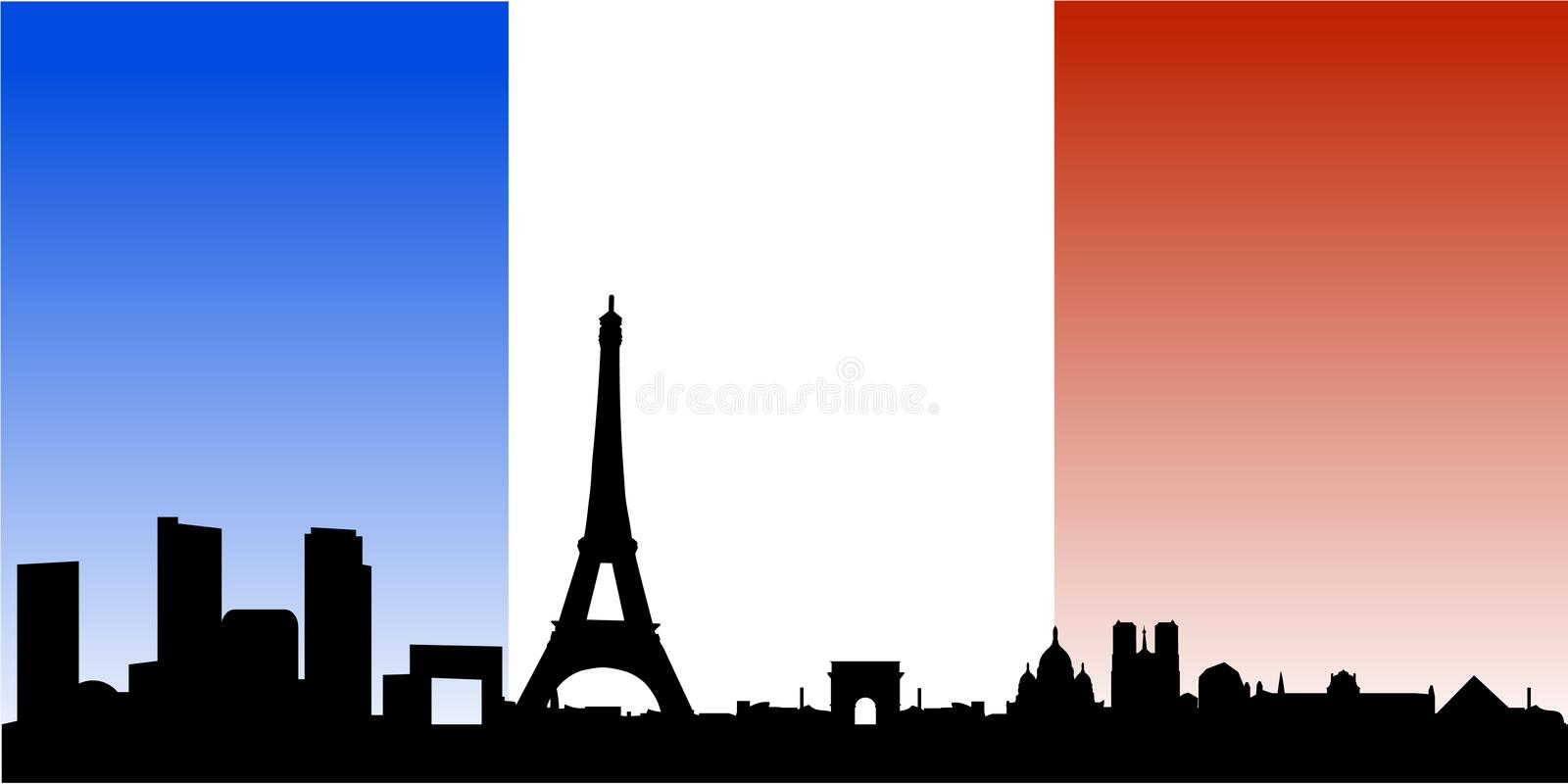 Paris skyline with french flag. Vector illustration of paris with landmarks and monuments as eiffel tower, arch of triumph and montmartre, with the national flag