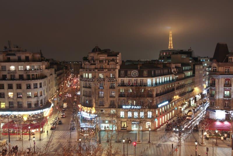 Paris-Skyline Nightscene stockbilder