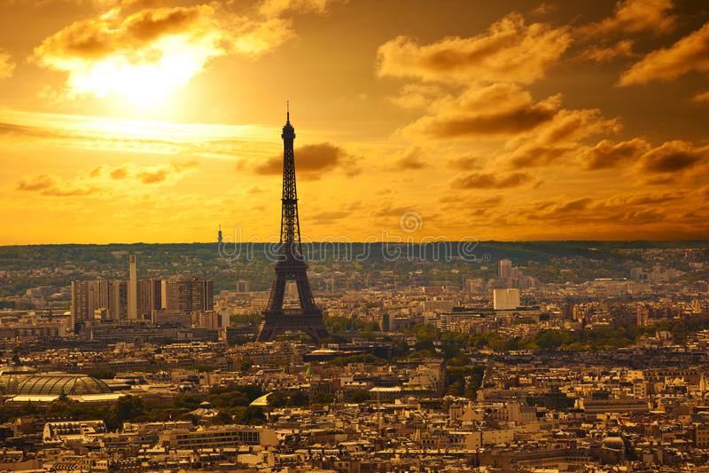 Paris skyline at sunset stock image