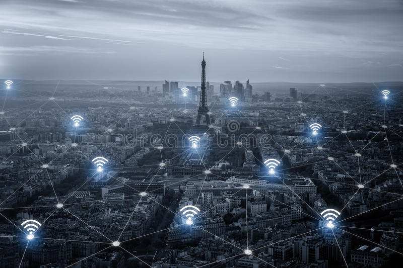 Paris smart city scape and network connection concept, wireless. Signal of internet in business city. internet connection. social on line business stock photos