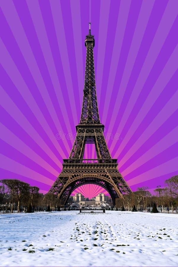 Paris - snöig Eiffeltorn