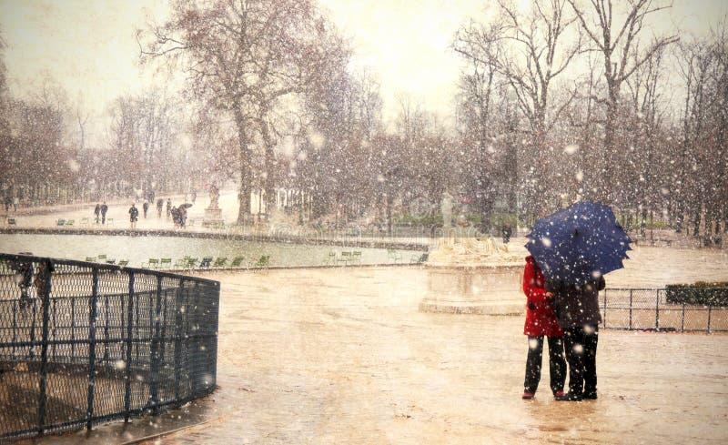 paris snow arkivbilder