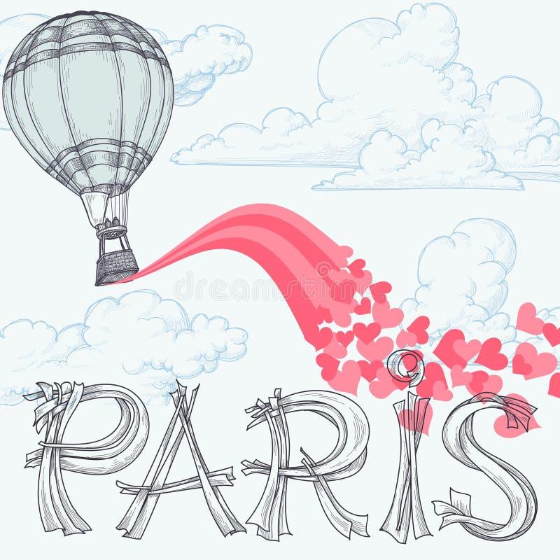 Paris stad av förälskelse stock illustrationer