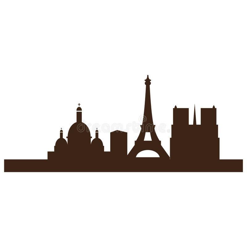 Paris stadsbild i vektortyp stock illustrationer