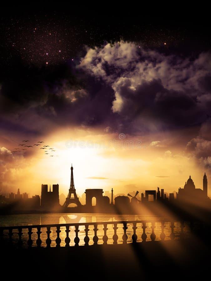 Paris-Stadt-Schattenbild, Frankreich stockfotografie