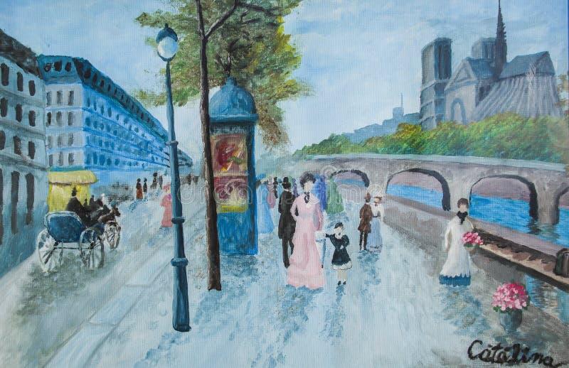 Paris-Straße an einem regnerischen Tag vektor abbildung