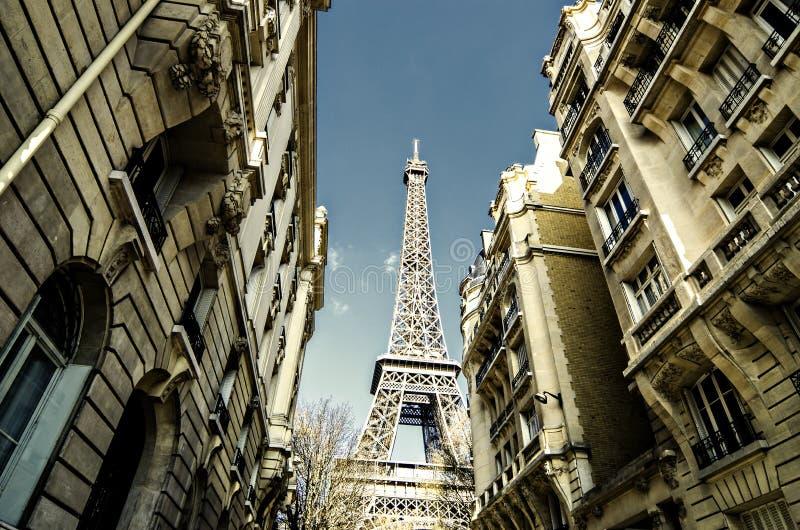 Paris street , Eiffel tower, France stock images