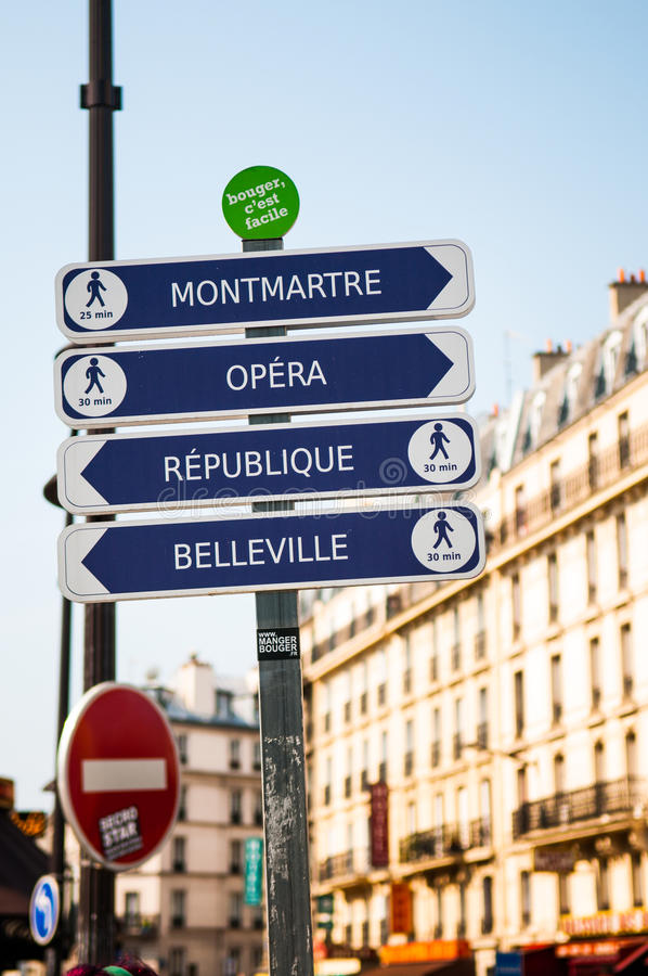 Paris Street Signs. Montmartre, Opera, Republique, Belleville royalty free stock photography