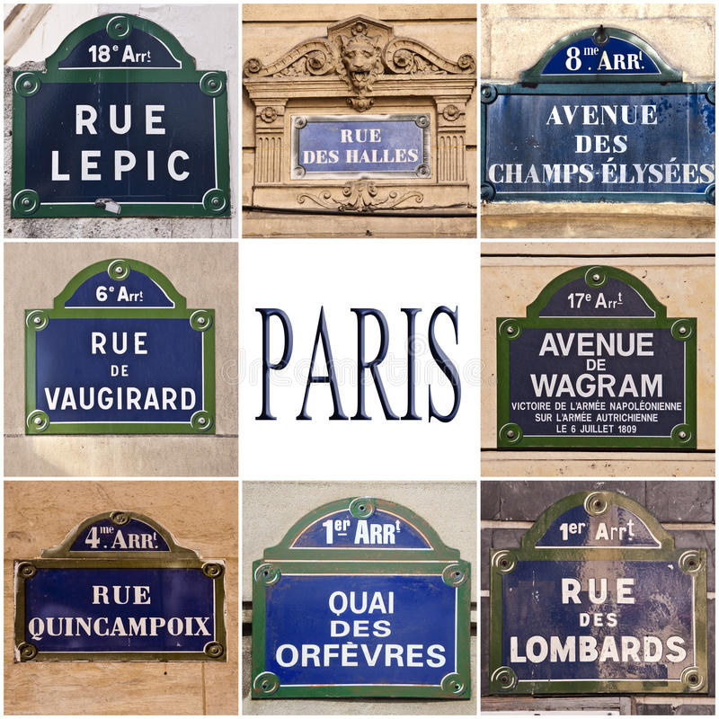 Paris streets signs royalty free stock image