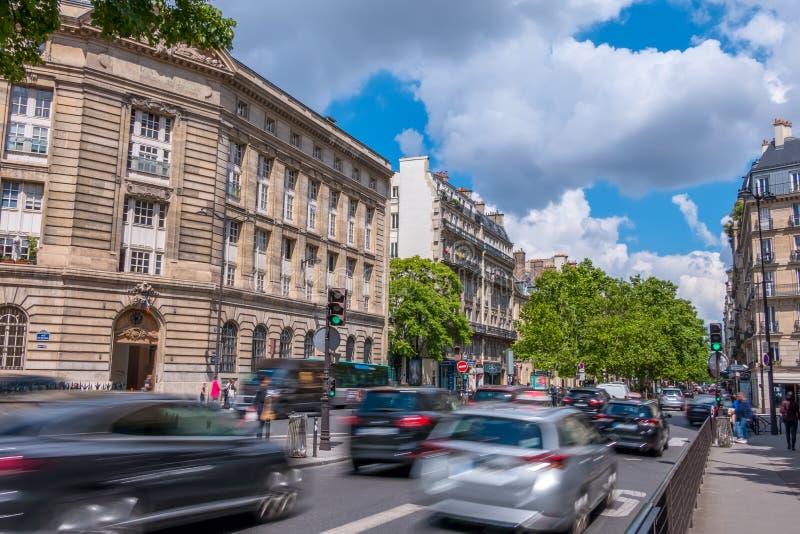 Paris Sunny Day Traffic stock photography