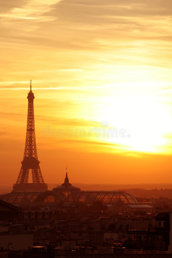 Paris sunset effel tower cityscape stock photos