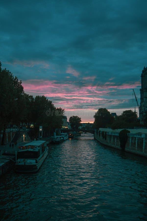 Paris at sunset stock images