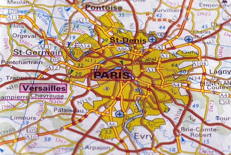 Paris sur la carte image stock