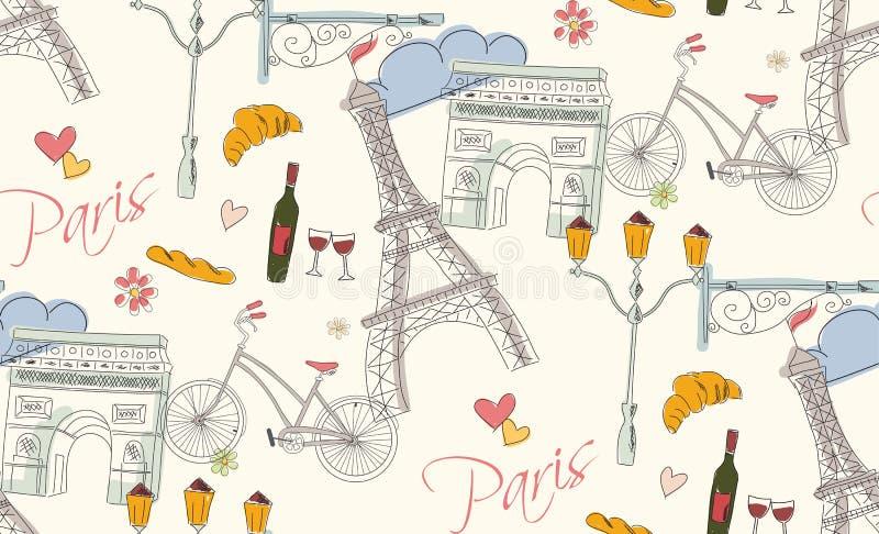 Paris symbols, postcard, seamless pattern, hand drawn stock illustration