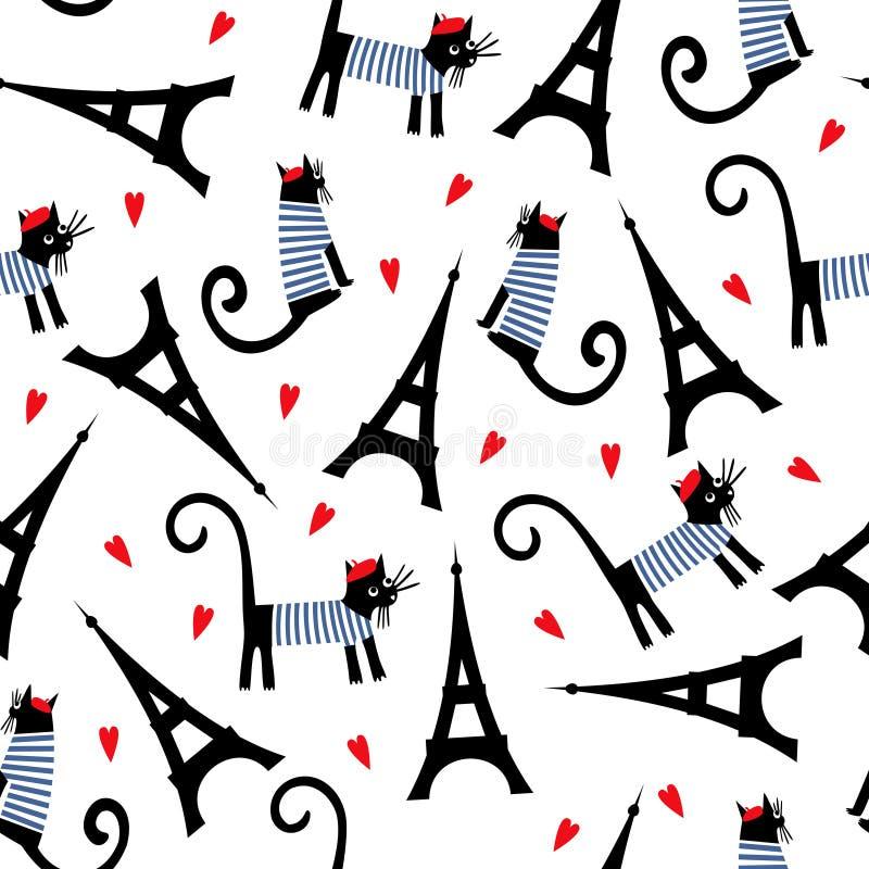 Paris symbols seamless pattern. Cute cartoon parisian cat and tour Eiffel vector illustration. stock illustration