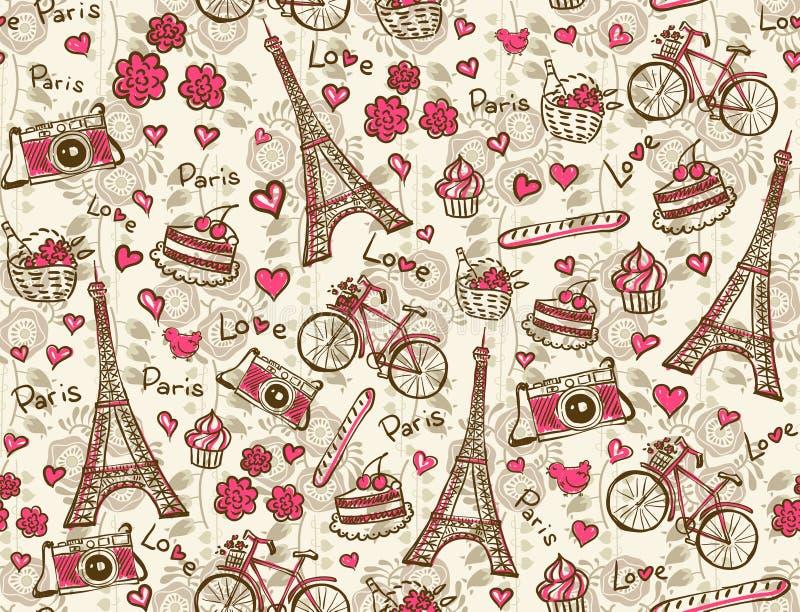 Paris tappningbakgrund stock illustrationer