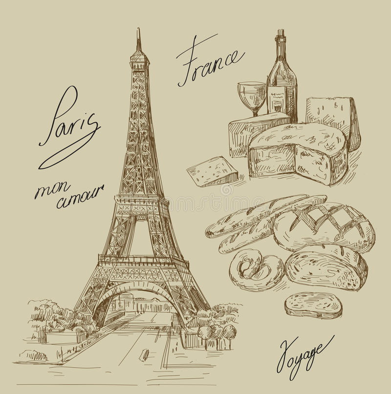 Paris tiré par la main illustration de vecteur