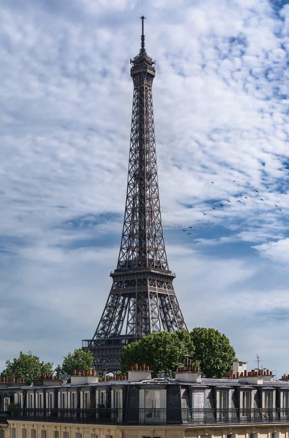 Paris, a torre Eiffel acima dos telhados imagem de stock royalty free