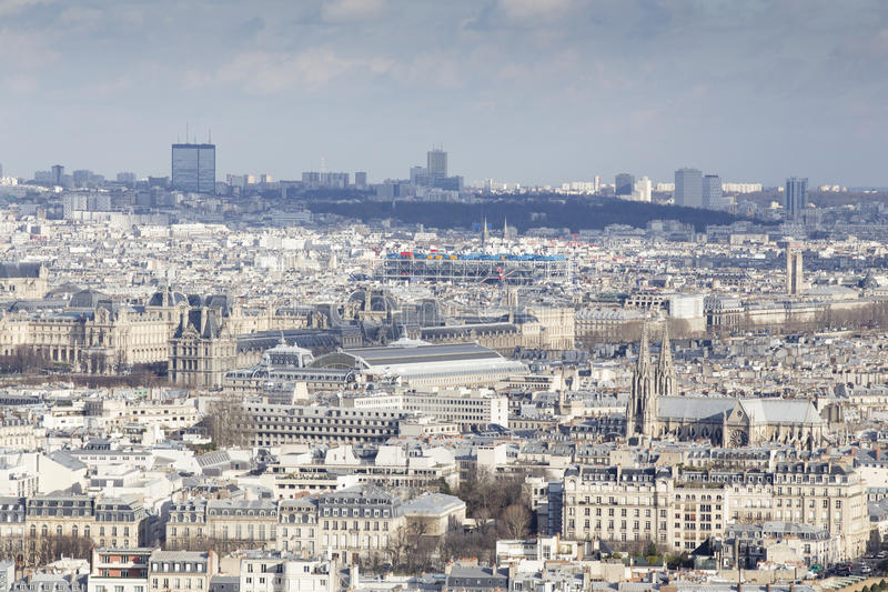 Paris from the Tour Eiffel Notre Dame stock photo
