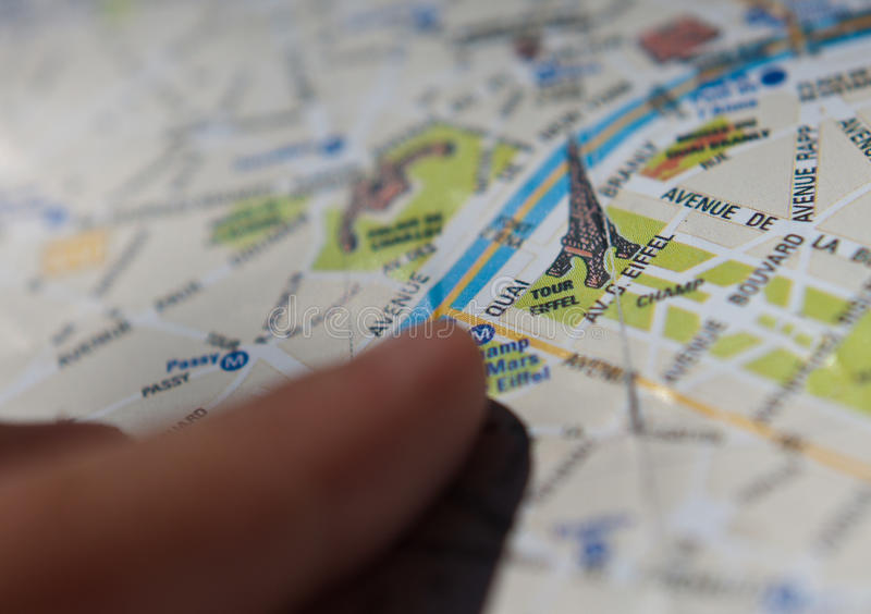 Paris-Touristenkarte Lizenzfreies Stockbild