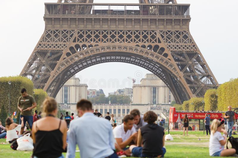 Paris, Tourists visited Eiffel tower Eiffel tour in sunny summer day. Eiffel tower is most popular royalty free stock photography