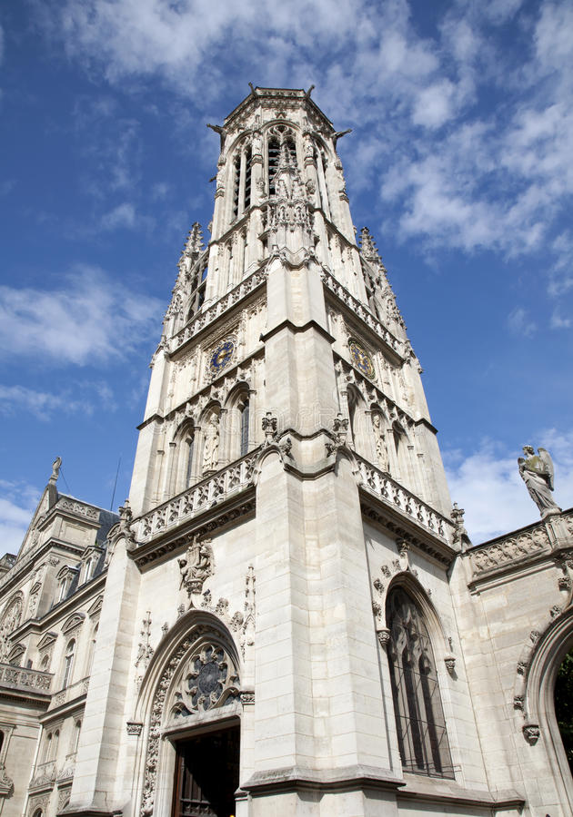 Paris - tower of Saint Germain-l'Auxerrois church stock images