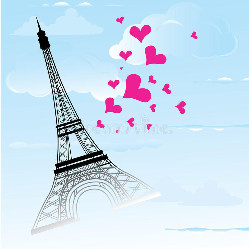 Paris town in France card as symbol love and romance travel. Eiffel tower with hearts vector illustration vector illustration