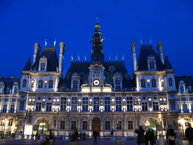 Paris Town Hall at night 01, France stock photos
