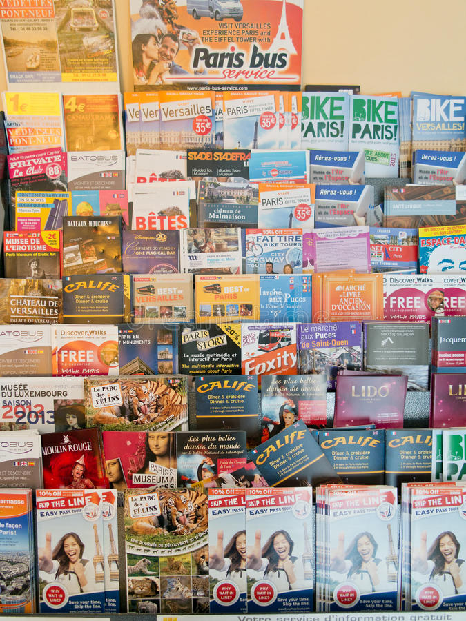 Travel brochures and flyers stock photos