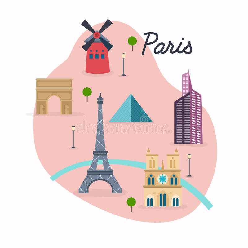 download paris travel map and vector landscape of buildings and famous l stock vector