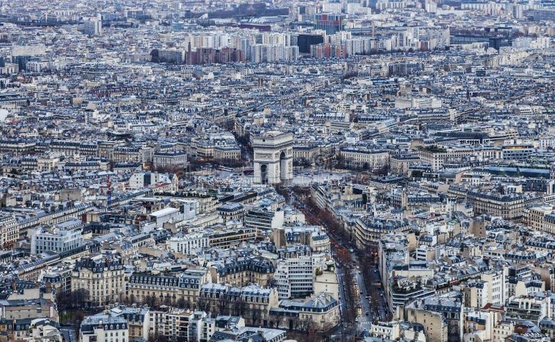 Paris - triumf- båge fotografering för bildbyråer