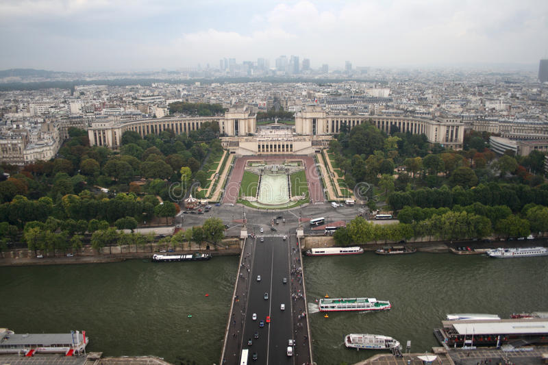Paris- Trocadero and Defence from the Eiffel Tower royalty free stock photo